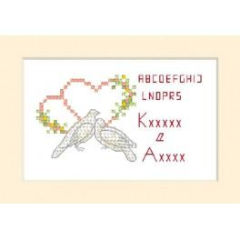 ZU 2102 Cross stitch kit - Wedding card - Two doves