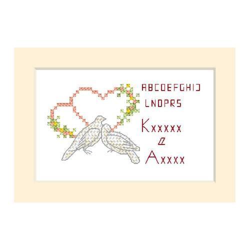 ZU 2102 Cross stitch kit - Wedding card - Two doves