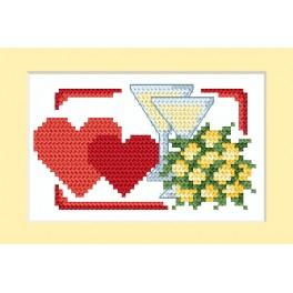 Cross stitch kit - Wedding card - Two hearts