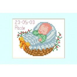 Cross stitch kit - Birth day card - Blue
