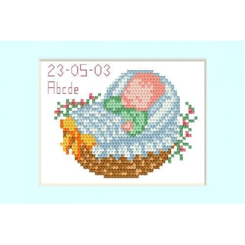 ZU 2005-02 Cross stitch kit - Birth day card - Blue