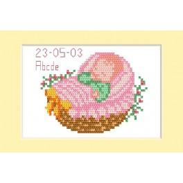 Cross stitch kit - Birth day card - Pink