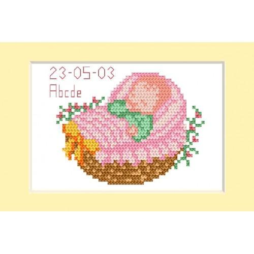 Cross stitch kit - Birth day card - Pink