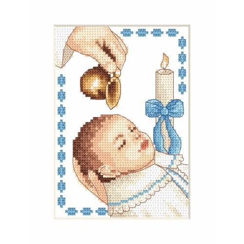 Cross stitch kit - Card - Boy baptism
