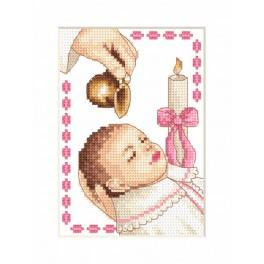 ZU 4925-01 Cross stitch kit - Card - Girl baptism
