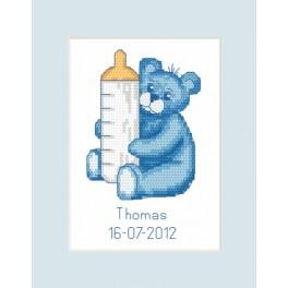 ZU 8450 Cross stitch kit - Birth Day Card - Bear