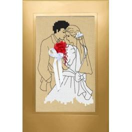Cross stitch kit - Wedding card - Newlyweds