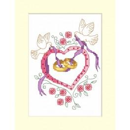 ZU 4953-01 Cross stitch kit - Card - Wedding rings