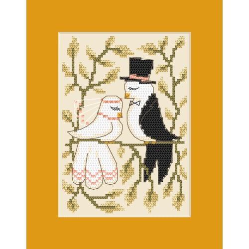 ZU 8448 Cross stitch kit - Wedding card - Doves in love