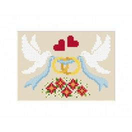 ZU 8474 Cross stitch kit - Wedding card - Dove with rings