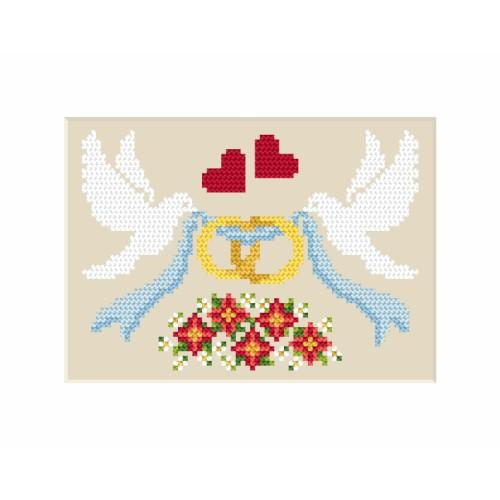 Cross stitch kit - Wedding card - Dove with rings