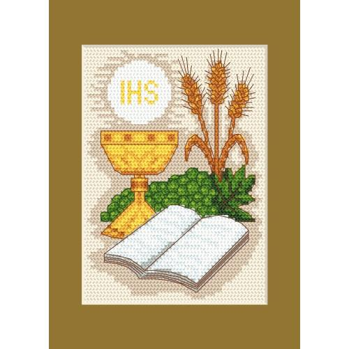 Cross stitch kit - Holy communion card - Holy Bible and grain ears