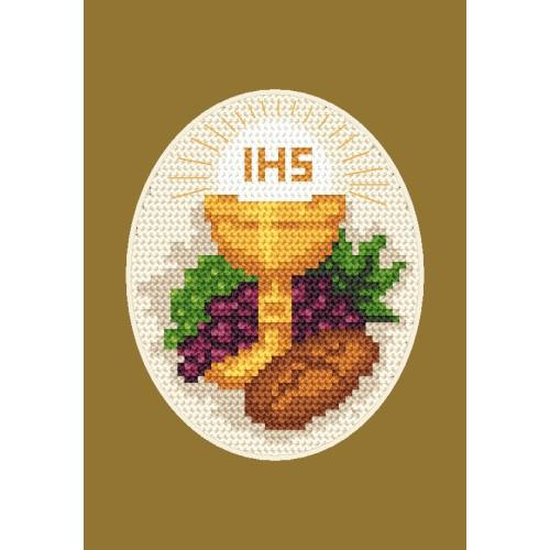 Cross stitch kit - Holy communion card - Bread and grapes