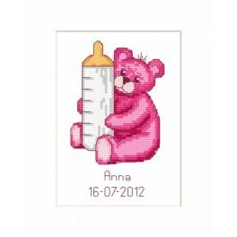 ZU 8451 Cross stitch kit - Birth Day Card - Teddy Bear