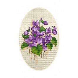 ZU 4864-02 Cross stitch kit - Greeting card - Violets