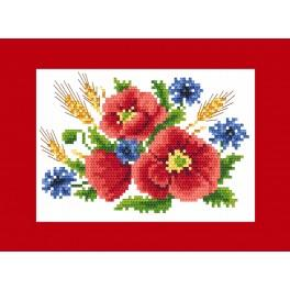 Cross stitch kit - Greeting card - Poppies with cornflowers