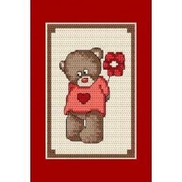 ZU 4805-02 Cross stitch kit - Greeting card - Teddy bear