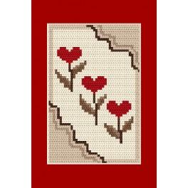 Cross stitch kit - Greeting card - Hearts