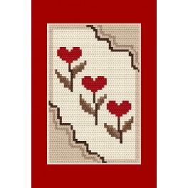 Z 4805-03 Cross stitch kit - Greeting card - Hearts