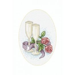 Cross stitch kit - Wedding card - Glasses