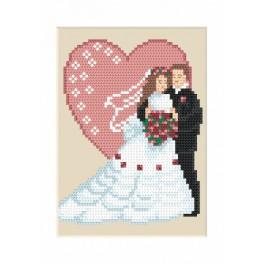 ZU 4906 Cross stitch kit - Wedding card - Newly-married couple