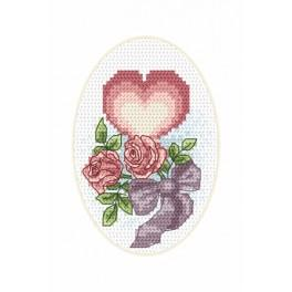 Cross stitch kit - Wedding card - Heart