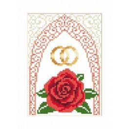 Cross stitch kit - Wedding card - Gold wedding rings