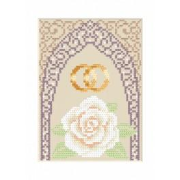 ZU 4905-02 Cross stitch kit - Wedding card - Gold wedding rings