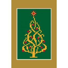 Cross stitch kit - Christmas card - Shiny christmas tree