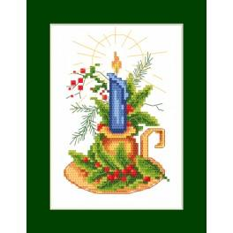 Cross stitch kit - Christmas card - Card with a candle