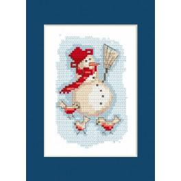 Cross stitch kit - Christmas card - Snowman