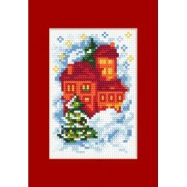 Cross stitch kit - Christmas card - Houses