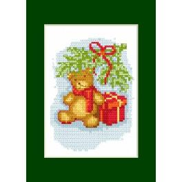 Cross stitch kit - Christmas card - Teddy bear