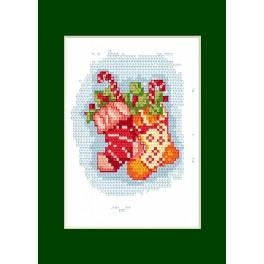 Cross stitch kit - Christmas card - Stockings
