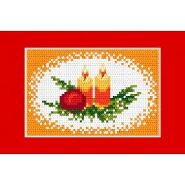 Cross stitch kit - Christmas card - Candles