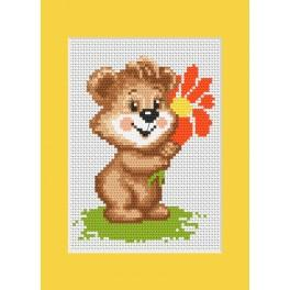 Cross stitch kit - Birthday card - Teddy with a flower