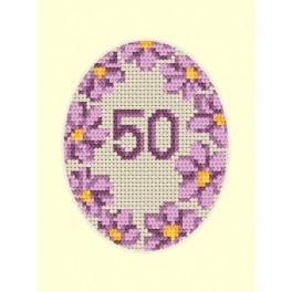 ZU 8423 Cross stitch kit - Birthday card - Violet flowers