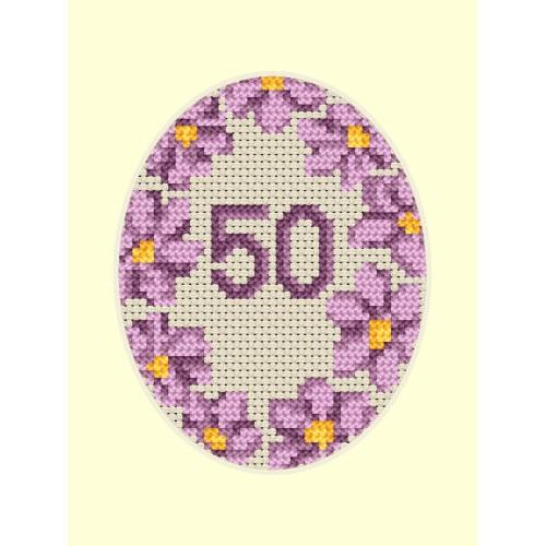 Cross stitch kit - Birthday card - Violet flowers