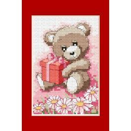 ZU 4832-01 Cross stitch kit - Birthday card - Bear with a gift
