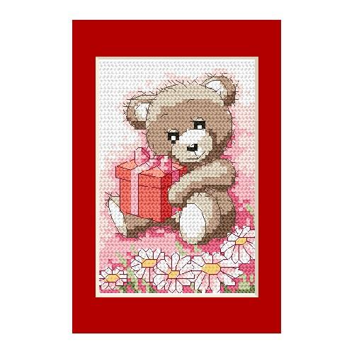 Cross stitch kit - Birthday card - Bear with a gift