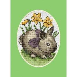 Cross stitch kit - Easter card - Hare with a bow