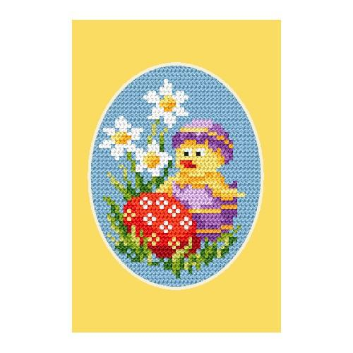 Cross stitch kit - Easter card - Chicken and Easter egg