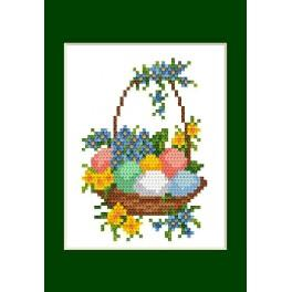 Cross stitch kit - Easter card - Easter eggs in a basket