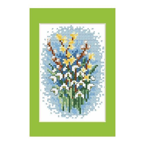 Cross stitch kit - Easter card - Snowdrops