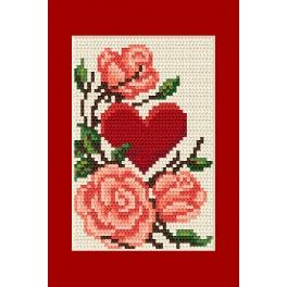 Cross stitch kit - Greeting card - Heart with roses