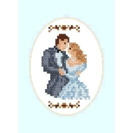 Cross stitch kit - Wedding card - Newly-married couple (oval)