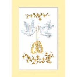 Cross stitch kit - Wedding card - Wedding rings