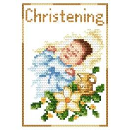 ZU 4425-02 Cross stitch kit - Card - Rememberance of baptism - Boy