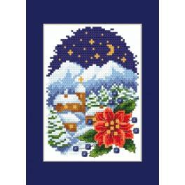 Cross stitch kit - Card - Landscape with Poinsettia