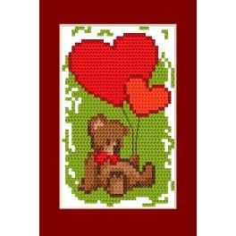 Cross stitch kit - Card - Valentine's day - Teddy bear and hearts